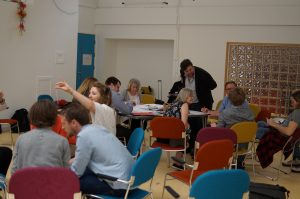 Kevin Harrison talks to participants at the Shifting Paradigms for Dementia workshop organised by Artlink Central