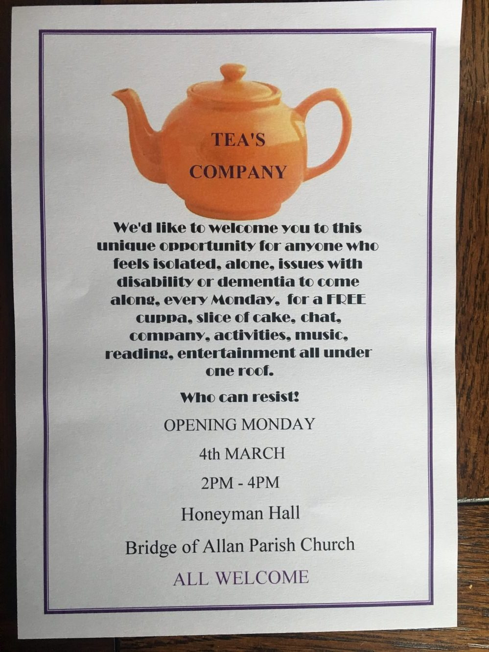 The Teas Company event opens on Monday 4 March at Honeyman Hall, Bridge of Allan Parish Church.