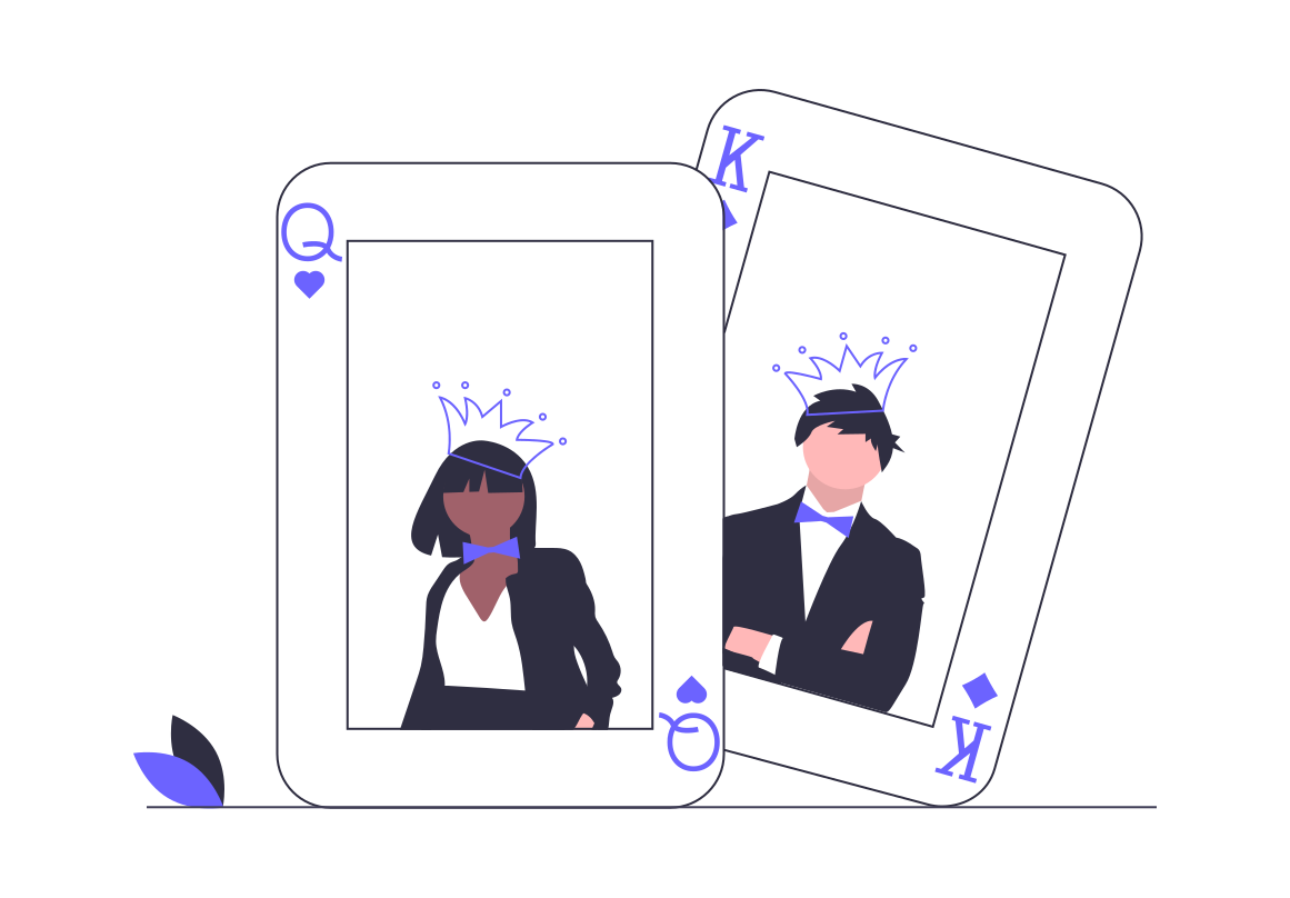 Illustration of king and queen playing cards