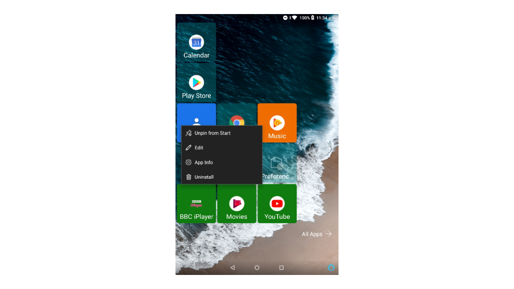 A long press on any home screen tile will show the edit option for more customisation.