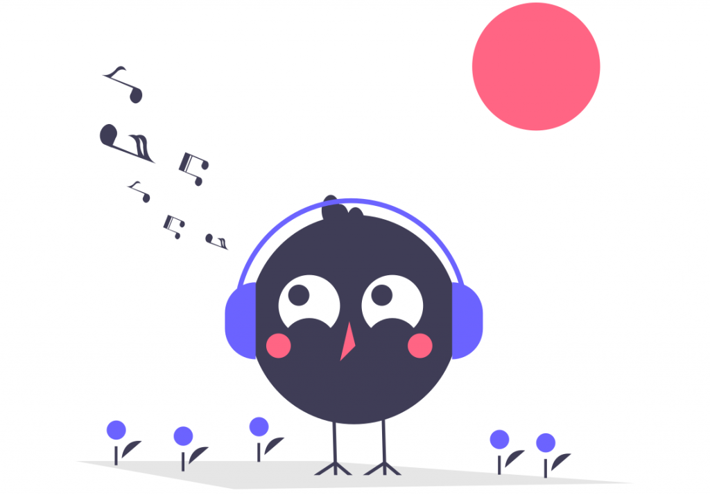 Graphic of a bird wearing headphones and listening to music