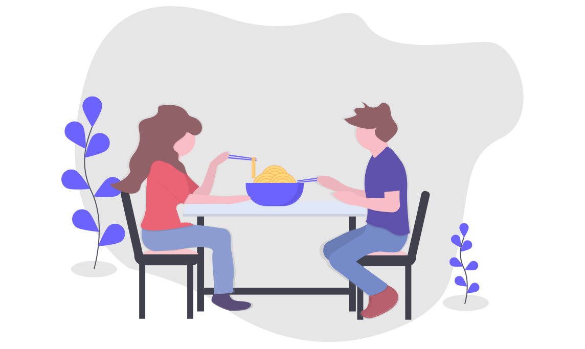 Illustration of a woman and a man eating together at a table outside