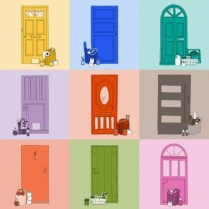 Illustration showing a series of closed doors with essential items left outside