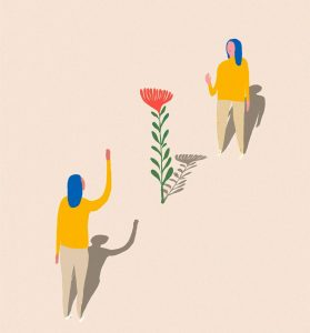 Illustratio showing two figures waving at one another from a safe distance, separated by a tall flower.