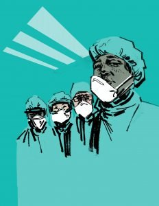 Graphic showing four doctors against a blue background. Inspired by images of exhausted doctors and nurses.