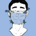 Graphic showing a face covered with a face mask, surrounded by forget-me-not flowers